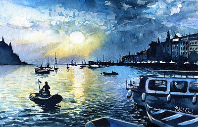 Painting - Sunset In Rovinj Croatia by Dora Hathazi Mendes