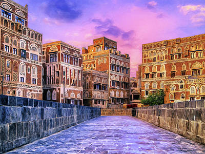 Saudia Painting - Sunset In Sana'a Yemen by Dominic Piperata
