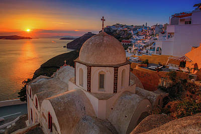 Photograph - Sunset In Santorini  by Emmanuel Panagiotakis