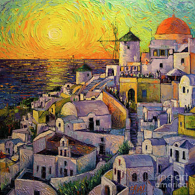 Abstract Skyline Rights Managed Images - Sunset In Santorini Royalty-Free Image by Mona Edulesco