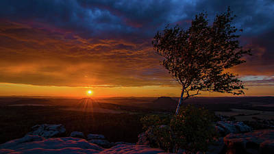 Sunset In Saxonian Switzerland Art Print by Andreas Levi