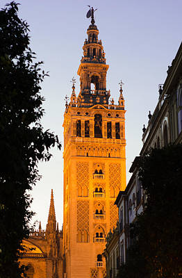 Sunset In Seville - A View Of The Giralda Print by Andrea Mazzocchetti