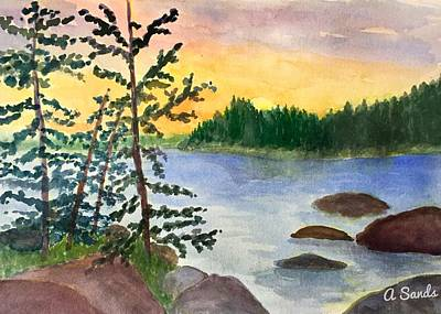 Painting - Sunset In Stonington Maine by Anne Sands