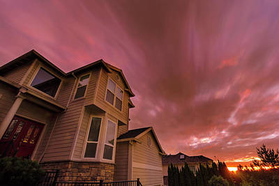 Photograph - Sunset In Suburban Neighborhood Homes by Jit Lim