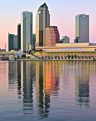 Tampa Skyline Photograph - Sunset In Tampa by Frozen in Time Fine Art Photography