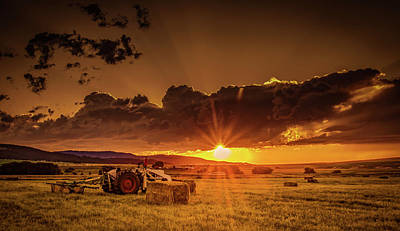 Photograph - Sunset In The Hay Field by Don Schwartz