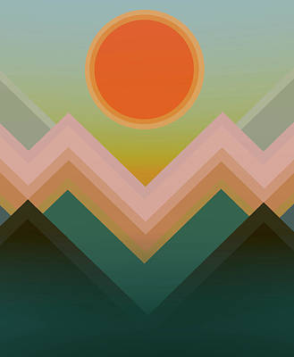 Digital Art - Sunset In The Mountains by Angel Estevez