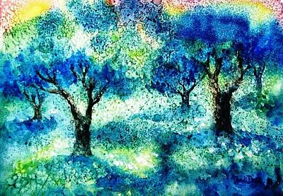 Skiathos Painting - Sunset In The Olive Grove  by Trudi Doyle