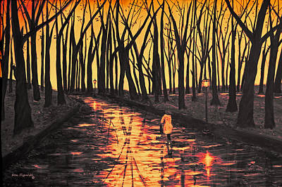 Sunset In The Park  Art Print by Ken Figurski
