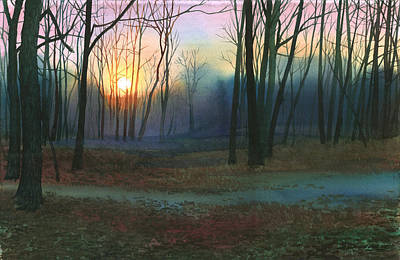 Sunset In The Park Art Print