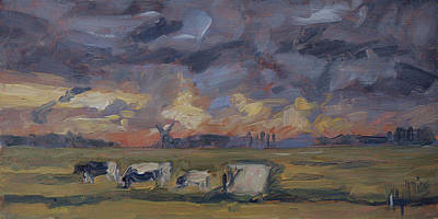 Painting - Sunset In The Polder by Nop Briex