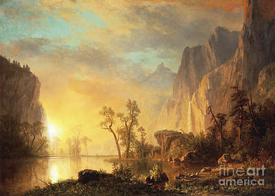 Mountainous Painting - Sunset In The Rockies by Albert Bierstadt