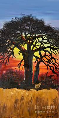Baobab Painting - Sunset In The South by Gabriela Tasiro