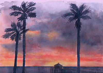 Stormy Weather Painting - Sunset In The Tropics by Arline Wagner