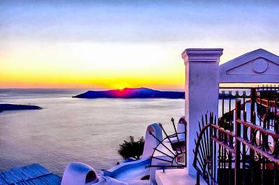 Digital Art - Sunset In Thira  by Sergey Simanovsky