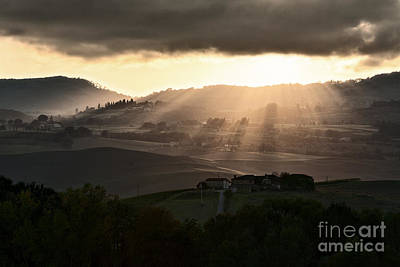 Sunset In Val D'orcia Art Print by Luigi Morbidelli