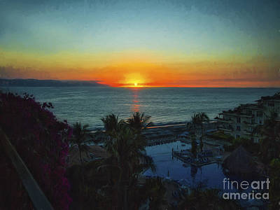 Sunset In Vallarta  ... Art Print