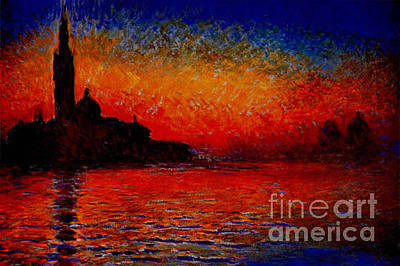 River Painting - Sunset In Venice by MotionAge Designs