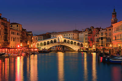 Sunset In Venice - Rialto Bridge Art Print by Henk Meijer Photography