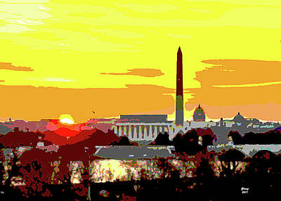 Washington Monument Mixed Media - Sunset In Washington Dc by Charles Shoup