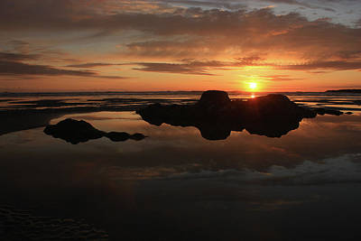 Pacific Photograph - Sunset In Yachats Oregon by Kami McKeon