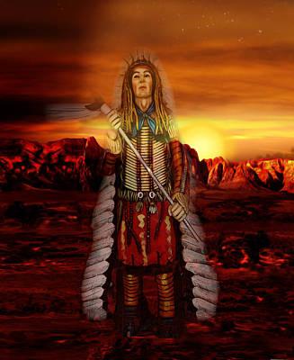 Desert Sunset Digital Art - Sunset Indian Chief by Gravityx9  Designs