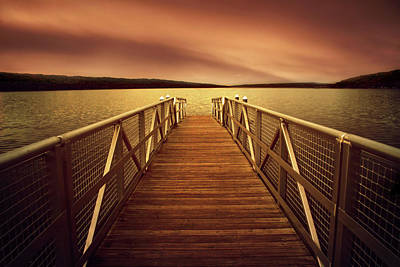 Sunset Dock Art Print by Jessica Jenney
