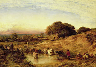 Swimming Hole Painting - Sunset by John Linnell