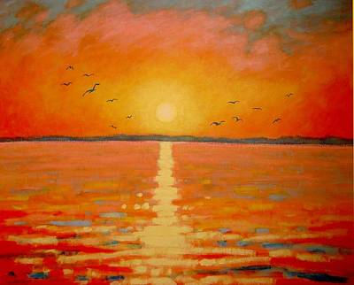 Irish Seascape Painting - Sunset by John  Nolan