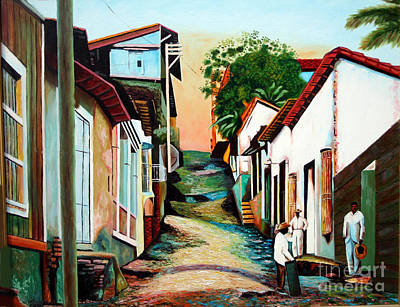 Old Street Painting - Sunset by Jose Manuel Abraham