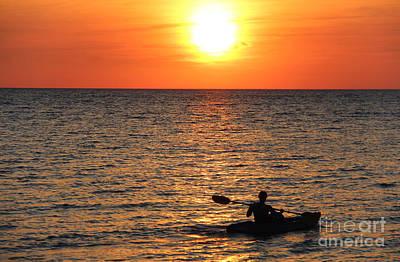 Sunset Kayak Art Print by Art Kurgin