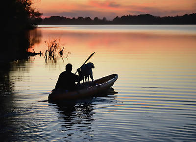 Photograph - Sunset Kayaker by Greg Jackson