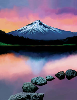 Digital Art - Sunset lake by Murry Whiteman