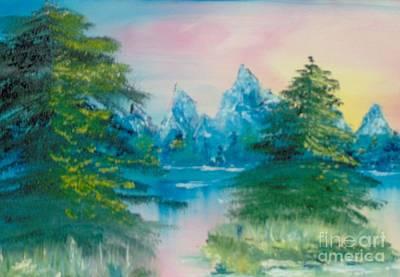 Art Print featuring the painting Sunset Lake by Saundra Johnson