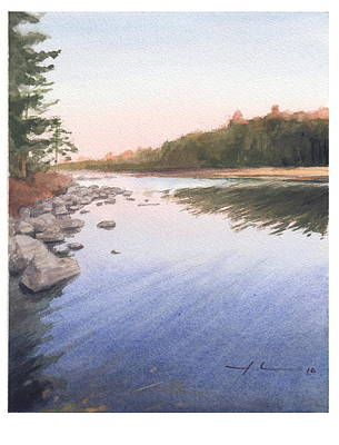 Sunset Lake Watercolor Painting Art Print by Mike Theuer