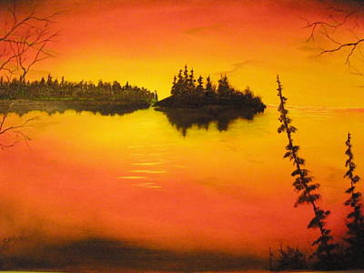 Sunset Lake1 Art Print by Ron Sargent