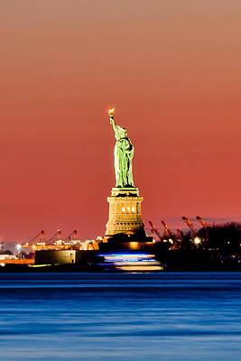 Skyline Photograph - Sunset Liberty by Az Jackson