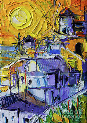 Painting - Sunset Light In Oia - Mini Santorini Cityscape 02 - Palette Knife Oil Painting by Mona Edulesco