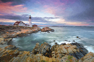 Maine Landscapes Digital Art - sunset lighthouse III by Jon Glaser
