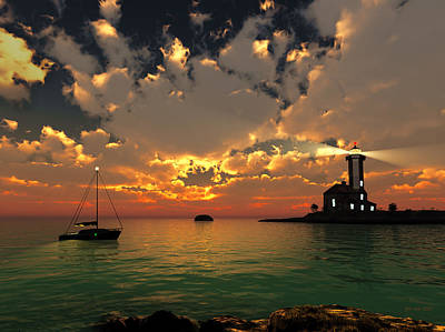 Sunset Lighthouse Art Print by Jim Coe