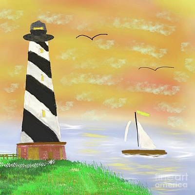 Painting - Sunset Lighthouse by Scott Hervieux
