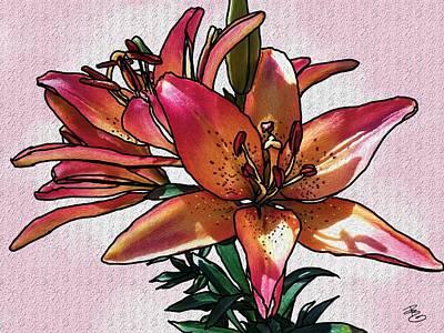 Digital Art - Sunset Lily by Debra Baldwin