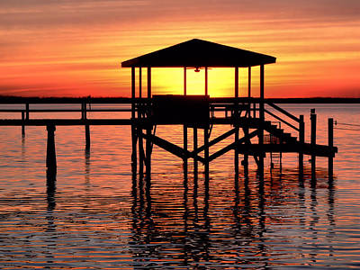 Photograph - Sunset Lit Pier by Kathy K McClellan