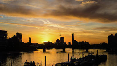 Photograph - Sunset London Silhouette Next To Albert Bridge by Jacek Wojnarowski