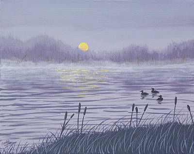 Painting - Sunset Loons by Christie Nicklay