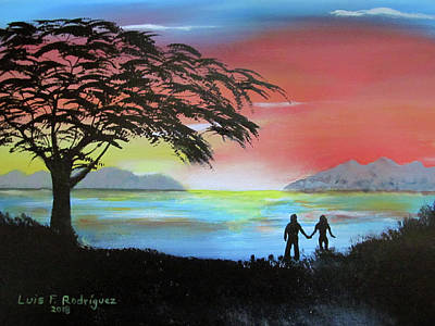 Painting - Sunset Love Birds by Luis F Rodriguez