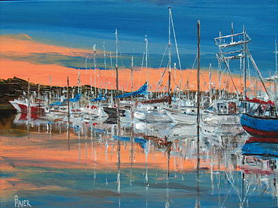 Sunset Marina Art Print by Pete Maier