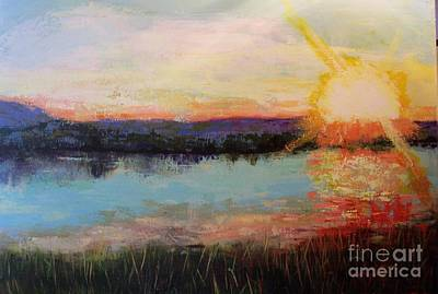 Art Print featuring the painting Sunset by Marlene Book