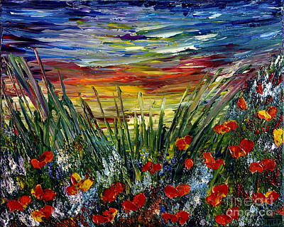 Painting - Sunset Meadow by Teresa Wegrzyn