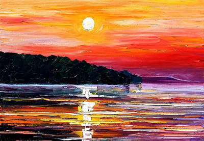 Lighthouse Oil Painting - Sunset Melody by Leonid Afremov